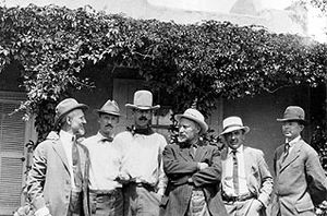 Founders of the Taos Society of Artists at the Couse house, ca. 1915: Joseph Henry Sharp, Ernest L. Blumenschein, W. Herbert Dunton, E.I. Couse, Bert G. Phillips, Oscar E. Berninghaus.