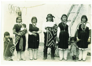 Isleta Pueblo family, 1890, photo by Charles Lummis; Kate Peck collection, Wheelwright Museum of the American Indian