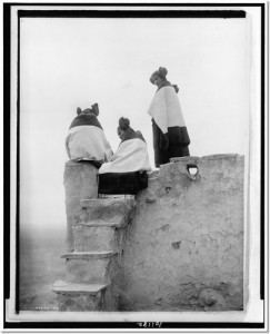 three-hopi-women-at-top-of-adobe-steps-new-mexico